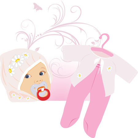 clothes peg: Pink suit for a baby girl