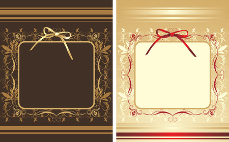 Decorative backgrounds with frames and bows Vector