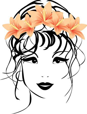 Portrait de femme avec un bouquet de Lys dans les cheveux