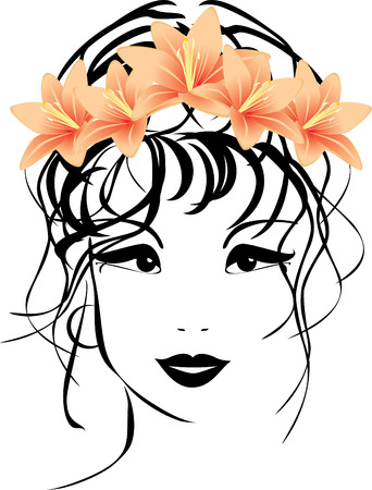 Retrato de mujer con ramo de lirios en pelo