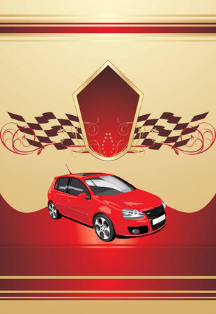 Red sport car on the decorative background Vector