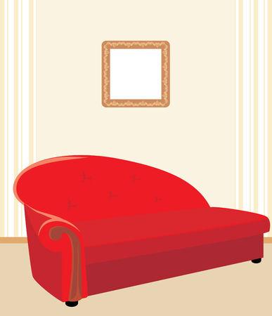 Red stylish sofa Vector