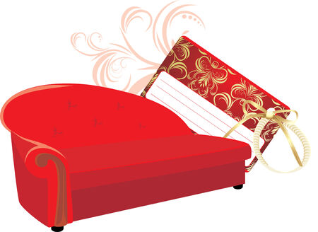 Red stylish sofa with gift card Vector
