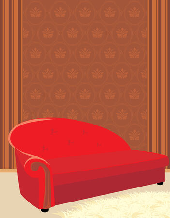 Red sofa and shaggy carpet Vector