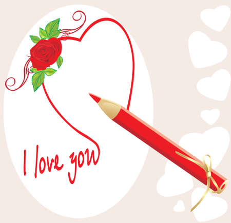 Red pencil and heart with rose. Valentines card Stock Vector - 8265467