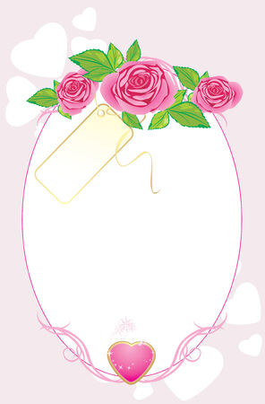 Bouquet of pink roses with card and heart. Valentines card Vector