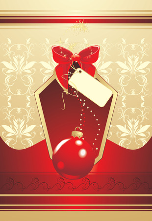 Christmas red ball with bow. Background for wrapping Vector