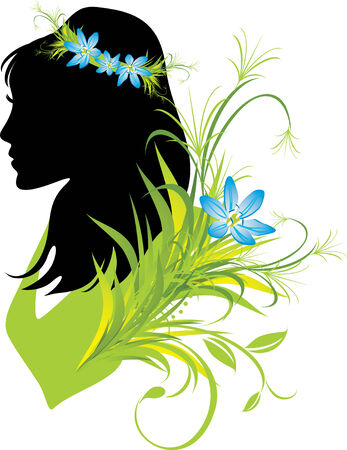 Portrait of woman with flowers in hair. Silhouette Vector