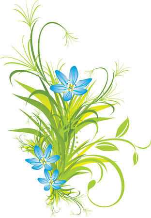 decorative item: Bouquet of blue flowers with grass
