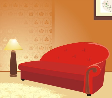 Red sofa and floor lamp. Fragment of interior Vector