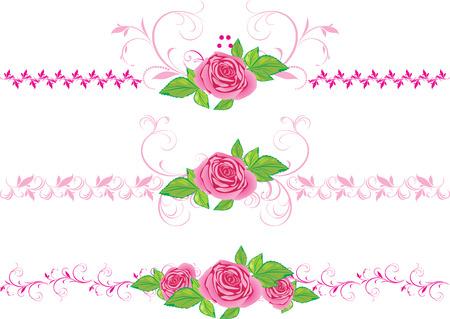 Rosas Rosa con ornamentos. Tres bordes decorativos