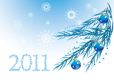 Blue balls with bows and snowflakes on the Christmas tree. Holiday banner Vector