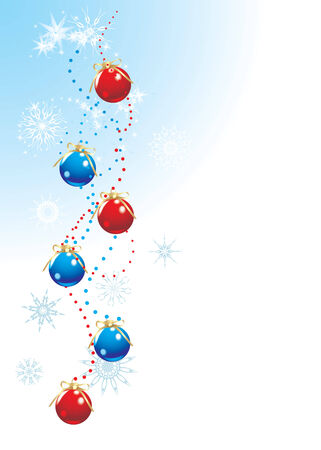Christmas balls with bows and snowflakes. Holiday background Vector