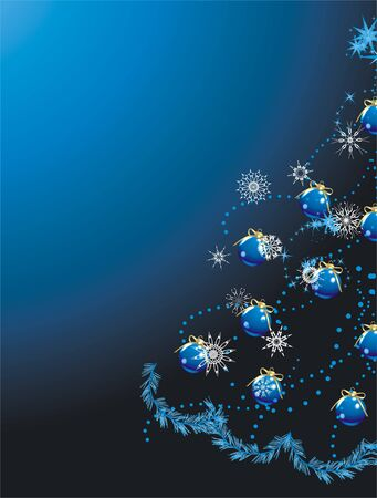 Blue balls with golden bows on the Christmas tree. Holiday background Vector