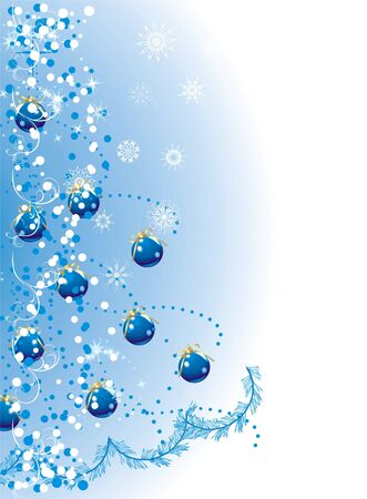 Blue balls with golden bows and tinsel on the Christmas tree. Holiday background Vector