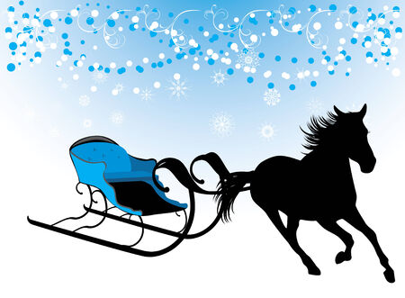 Horse with sledges. Composition for Christmas card Vector