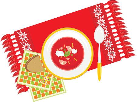 servilleta de papel: Plato con sopa de verduras en la servilleta decorativo