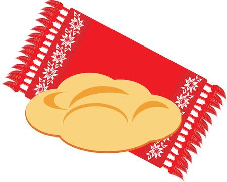 serviette: Brood op de decoratieve servet Stock Illustratie