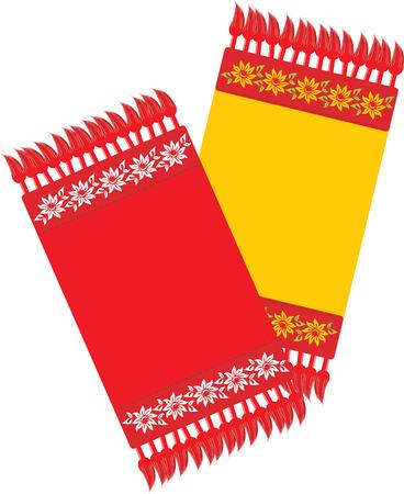 serviette: Twee keuken decoratieve servet Stock Illustratie