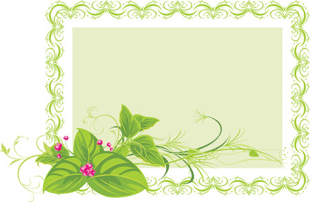 Decorative frame with spring flowers. Vector Vector