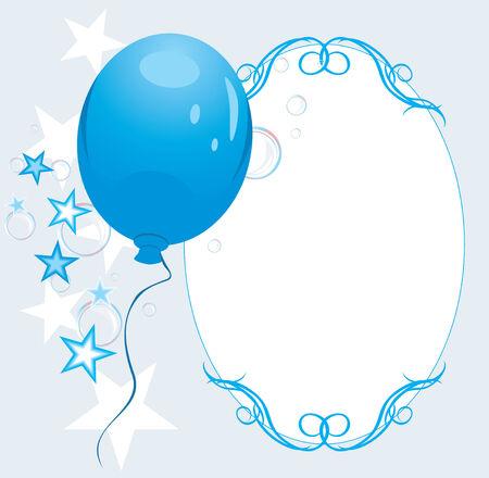 Blue Balloon mit Sternen und Blasen. Dekorrahmen