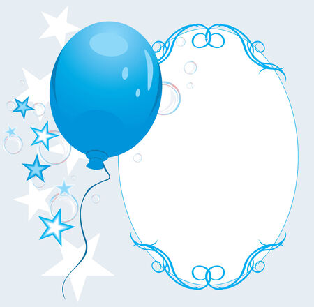 Blue balloon with stars and bubbles. Decorative frame Vector