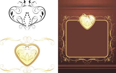 Three decorative retro elements for design