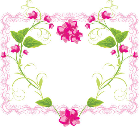 Floral heart in the frame Vector