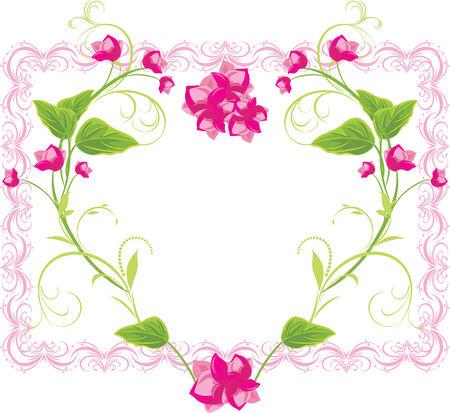 golden heart: Floral heart in the frame Illustration