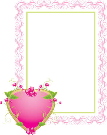Decorative frame with floral heart Stock Vector - 8568927