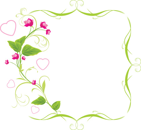 pink and green: Sprig with pink flowers and hearts. Frame Illustration