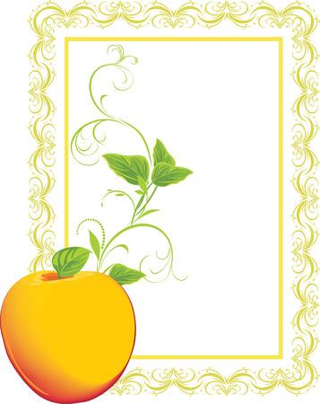a sprig: Apple amarillo con ramita en el marco decorativo Vectores