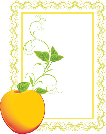 yellow apple: Yellow apple with sprig in the decorative frame Illustration
