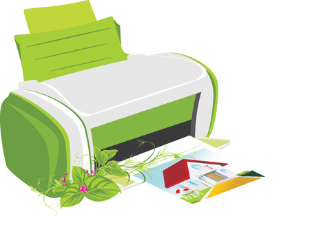Publishing printer with spring bouquet Vector