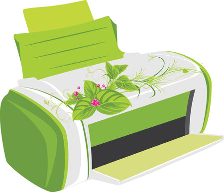 Printer with spring bouquet Vector