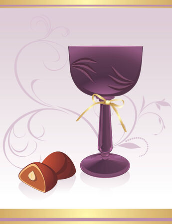 pastille: Glass with chocolate candies. Background for wrapping Illustration