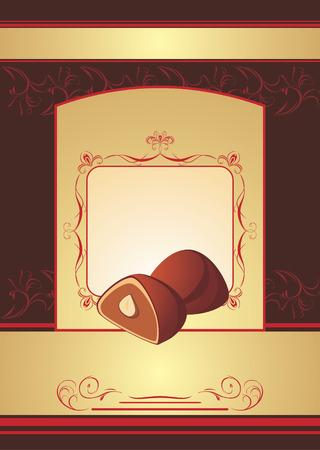 chocolate truffle: Chocolate truffle. Background for wrapping Illustration
