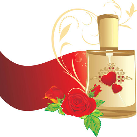 toilette: Bouquet of roses and perfume for woman