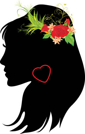 Portrait of beautiful woman with bouquet in hair Vector