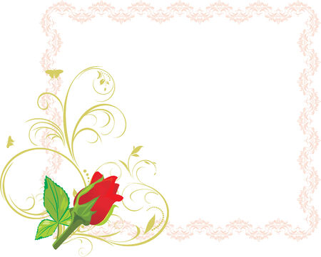 sprig: Red rose with floral ornament in the decorative frame Illustration