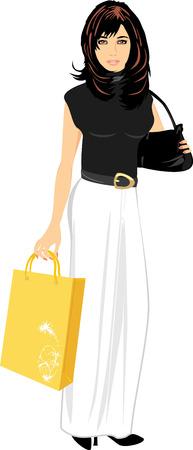 yellow hair: Elegante bella donna con borsetta e pacchetto Vettoriali