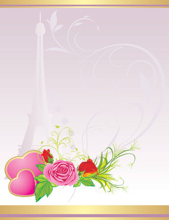 Bouquet of roses with pink hearts and Eiffel tower on the decorative background Vector