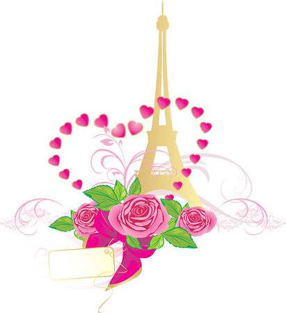 Bouquet of pink roses and Eiffel tower. Holiday composition for Valentines day Vector