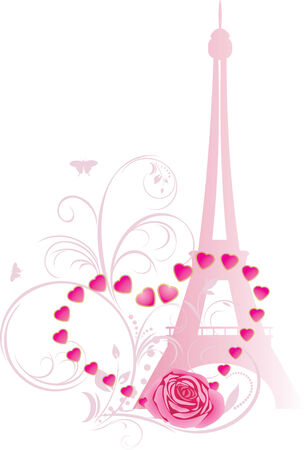 Pink rose with heart and Eiffel tower. Holiday composition for Valentines day