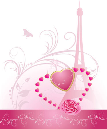 Pink rose with heart and Eiffel tower. Holiday banner for Valentines day Vector