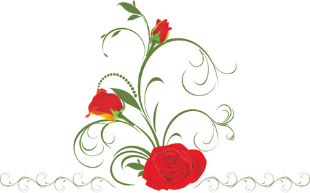Red roses with floral ornament Stock Vector - 8738421