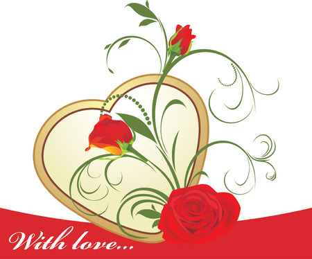 Red roses with floral ornament and golden heart Vector