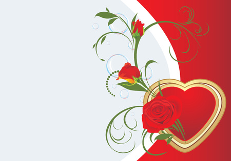 Bouquet of red roses with heart. Valentines card Vector