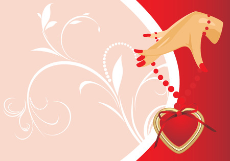 french manicure: Female hand with heart. Valentines card