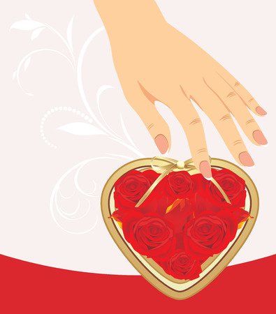 Female hand and heart with red roses Vector